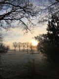 Salida del sol en una mañana escarchada en Holanda imagen de archivo