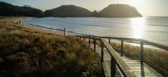 Salida del sol en una playa en Nueva Zelanda imagenes de archivo
