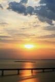 Salida del sol en Volga en Ulyanovsk Imagen de archivo libre de regalías