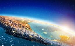 Salida del sol del espacio de México stock de ilustración