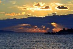 Salida del sol espectacular del mar Fotografía de archivo