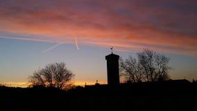 Salida del sol, Essen Alemania Fotografía de archivo