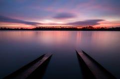 Salida del sol fabulosa en el río Fotografía de archivo libre de regalías