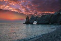 Salida del sol fantástica en el mar Fotos de archivo libres de regalías