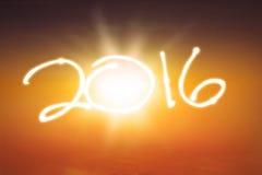 Salida del sol hermosa con los números 2016 Imágenes de archivo libres de regalías