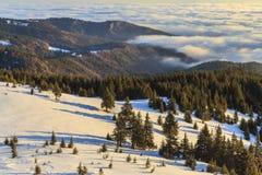 Salida del sol hermosa del invierno en las montañas fotografía de archivo libre de regalías