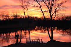 Salida del sol hermosa del lago Foto de archivo