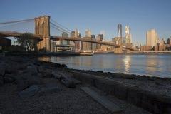 Salida del sol hermosa del puente de Brooklyn Fotografía de archivo libre de regalías