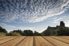 Salida del sol hermosa del verano sobre el paisaje de las ruinas medievales del castillo Fotografía de archivo