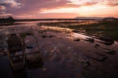 Salida del sol hermosa en Bueng Khonglong Fotos de archivo libres de regalías