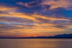 Salida del sol hermosa en el lago Lemán Suiza Imagenes de archivo