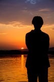 Salida del sol hermosa en el río Bojana Imágenes de archivo libres de regalías