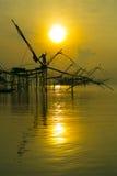 Salida del sol hermosa en la granja del pescador Imágenes de archivo libres de regalías