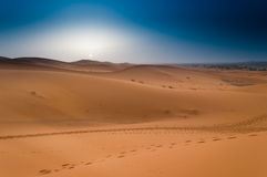 Salida del sol hermosa en Sahara Desert marroquí, África del Norte Fotos de archivo libres de regalías