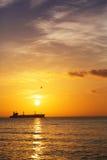 Salida del sol hermosa sobre el horizonte Fotografía de archivo
