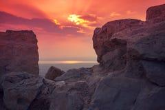 Salida del sol hermosa sobre la fortaleza de Masada Imagenes de archivo