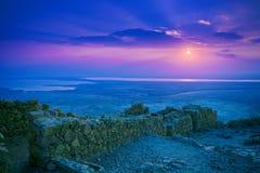 Salida del sol hermosa sobre la fortaleza de Masada Fotografía de archivo libre de regalías