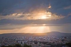 Salida del sol hermosa sobre Palma Foto de archivo libre de regalías