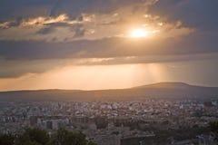 Salida del sol hermosa sobre Palma Fotos de archivo libres de regalías