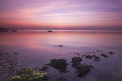 Salida del sol hermosa y tranquila cerca de una playa por completo con algas marinas Foto de archivo libre de regalías