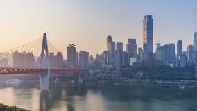 Salida del sol Horizonte de la ciudad de Chongqing Lapso de tiempo almacen de video