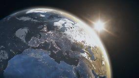 Salida del sol impresionante sobre la tierra del planeta stock de ilustración