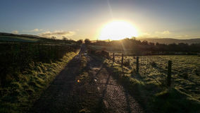 Salida del sol Irlanda del invierno Fotos de archivo libres de regalías