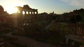 Salida del sol Italia de los BU de la ciudad de Roma almacen de metraje de vídeo