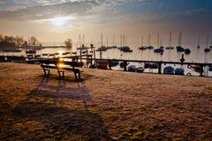 Salida del sol IV del puerto deportivo Imagenes de archivo