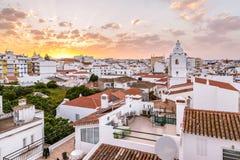 Salida del sol Lagos, Algarve, Portugal Imágenes de archivo libres de regalías