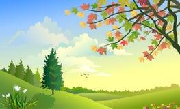Salida del sol lateral del país entre las pequeñas colinas libre illustration