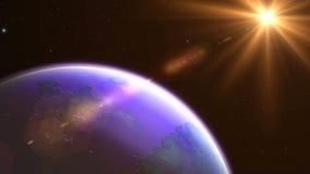 Salida del sol lenta hermosa de la órbita del planeta capaz de colocar ilustración del vector