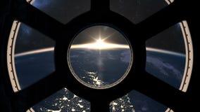 Salida del sol lenta vista del ISS stock de ilustración