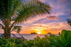 Salida del sol magnífica de la playa de Lanikai imágenes de archivo libres de regalías