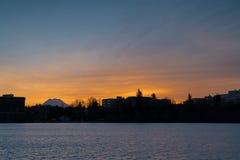 Salida del sol Olympia Washington Foto de archivo