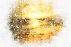 Salida del sol por la mañana en fondo de pintura de la acuarela ilustración del vector