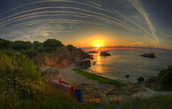 Salida del sol preciosa capturada en el Mar Negro Imagen de archivo