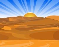Salida del sol (puesta del sol) en desierto Fotografía de archivo libre de regalías