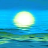 Salida del sol, puesta del sol en el agua Fotos de archivo