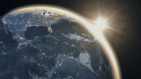 Salida del sol realista sobre la tierra del planeta stock de ilustración
