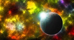 Salida del sol redonda del planeta en nebulosa colorida ilustración del vector