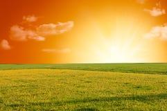 Salida del sol rural del paisaje Fotografía de archivo libre de regalías