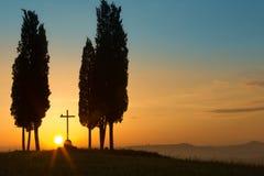 Salida del sol santa en Toscana Fotografía de archivo libre de regalías