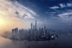 Salida del sol Shangai Foto de archivo libre de regalías