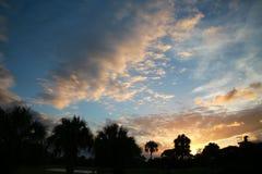 Salida del sol sobre árboles foto de archivo libre de regalías