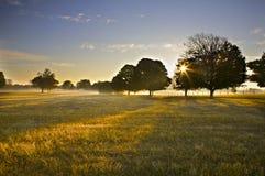 Salida del sol sobre campo abierto Fotos de archivo libres de regalías