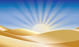Salida del sol sobre desierto fotografía de archivo libre de regalías