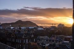 Salida del sol sobre Edimburgo Imagen de archivo