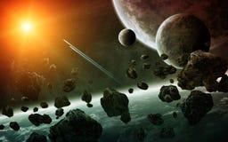 Salida del sol sobre el grupo de planetas en espacio stock de ilustración
