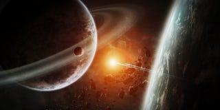 Salida del sol sobre el grupo de planetas en espacio Imagen de archivo libre de regalías